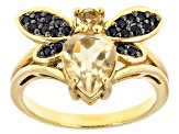 Yellow citrine 18k gold over silver ring 1.58ctw
