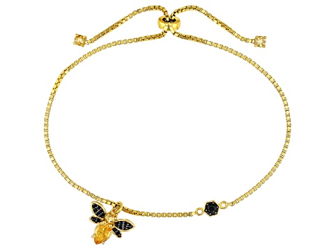 Yellow Citrine 18k Gold Over Silver Bee Adjustable Bracelet 1.00ctw