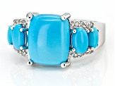 Blue sleeping beauty turquoise rhodium over silver ring .17ctw