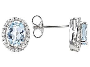 Blue aquamarine rhodium over silver earrings 1.49ctw