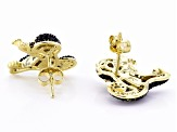Black spinel 18k gold over silver monkey earrings 1.27ctw