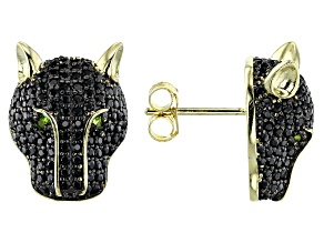 Black spinel 18k gold over silver panther earrings 1.89ctw