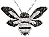 Black spinel rhodium over silver bee pendant with chain 1.11ctw