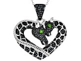 Black spinel rhodium over silver giraffe pendant with chain 1.55ctw