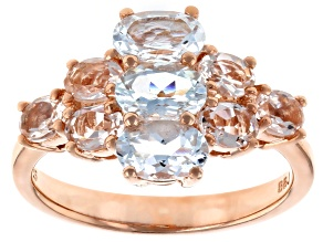 Blue Aquamarine 18k Rose Gold Over Silver Ring 1.73ctw