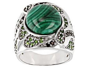 Green malachite rhodium over silver ring .77ctw