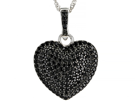 Black Spinel Rhodium Over Silver Enhancer with Chain 2.63ctw