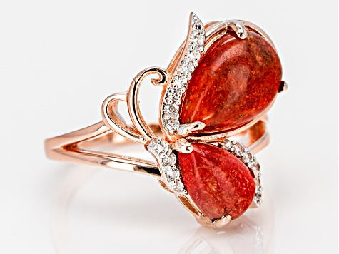 Red sponge coral 18k rose gold over silver butterfly ring .05ctw