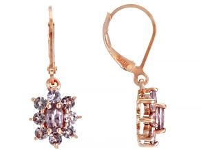 Color Shift Garnet 18k Rose Gold Over Sterling Silver Earrings 1.51ctw