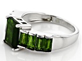 Green Russian Chrome Diopside Rhodium Over Silver Ring 3.41ctw