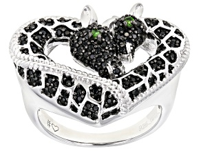 Black Spinel rhodium over silver Giraffe ring .81ctw