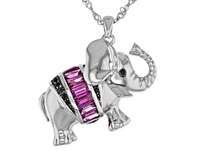 Purple rhodolite rhodium over silver elephant pendant with chain 1.35ctw