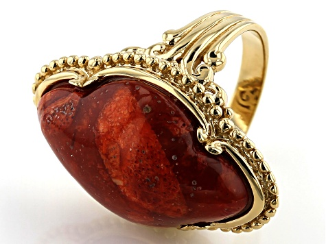 Red sponge coral 18k gold over silver ring