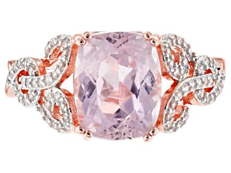 Pink kunzite 18k rose gold over silver ring 3.47ctw