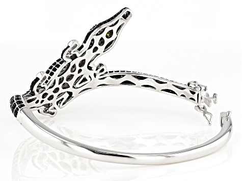 Black spinel rhodium over silver alligator bracelet 4.18ctw