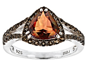 Red labradorite rhodium over sterling silver ring 1.68ctw