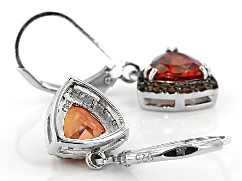 Red labradorite rhodium over sterling silver dangle earrings 2.10ctw