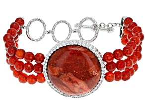 Red Coral Rhodium Over Silver Bracelet 2.15ctw