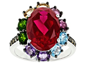 Red lab created ruby rhodium over silver ring 7.12ctw