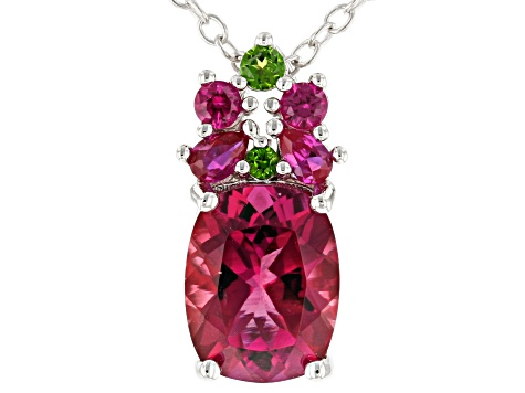 Red Lab Bixbite Rhodium Over  Silver Pendant with Chain 1.63ctw