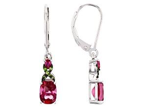 Red Lab Bixbite Rhodium Over Silver Earrings 1.82ctw