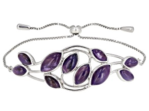 Purple Charoite Rhodium Over Silver Bolo Bracelet