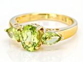 Green peridot 18k yellow gold over silver 3-stone ring 1.90ctw