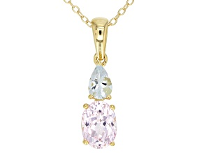 Pink Kunzite 18K Gold over Silver Pendant with Chain 1.76ctw
