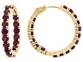 Red ruby 18k gold over silver hoop earrings 11.56ctw