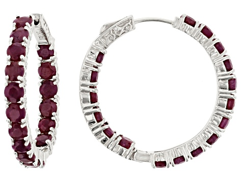 Red ruby rhodium over silver earrings 11.56ctw