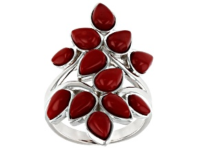 Red coral rhodium over silver ring