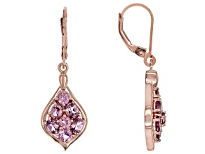 Pink Blush Color Garnet 18k Rose Gold Over Silver Earrings 2.16ctw