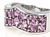 Pink Blush Color Garnet Rhodium Over Silver Ring 2.92ctw