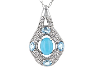 Blue Sleeping Beauty Turquoise Rhodium Over Sterling Silver Pendant with Chain .75ctw