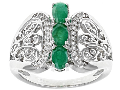 Green emerald rhodium over silver ring .71ctw