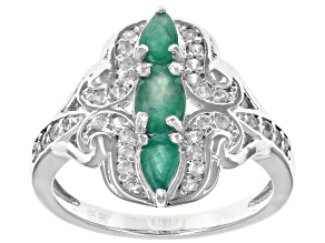 Green emerald rhodium over silver ring 1.04ctw