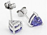 Blue tanzanite rhodium over silver stud earrings 1.28ctw