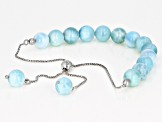Blue Larimar Rhodium Over Sterling Silver Bracelet