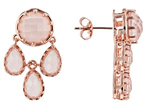 Pink rose quartz 18k rose gold over silver dangle earrings