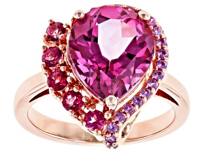 Pink topaz 18k rose gold over silver ring 4.45ctw