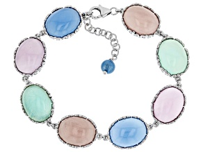 Multi-Color Chalcedony Rhodium Over Sterling Silver Bracelet