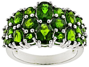 Green chrome diopside rhodium over silver ring 3.41ctw