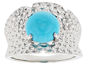 Blue Sleeping Beauty turquoise rhodium over silver ring.