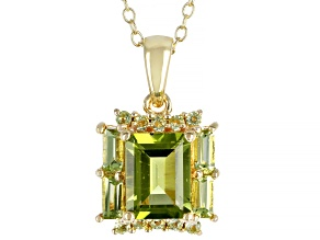 Green peridot 18k yellow gold over silver pendant with chain 2.23ctw