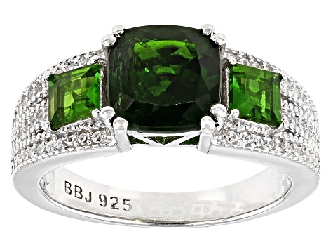 Green chrome diopside rhodium over silver ring 2.74ctw