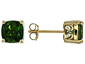 Green chrome diopside 18k yellow gold over silver stud earrings 2.67ctw
