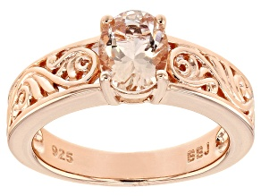 Pink morganite 18k rose gold over silver solitaire ring .94ct