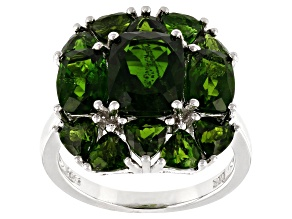 Green Russian Chrome Diopside Rhodium Over Sterling Silver Ring 6.09ctw