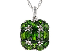 Green Russian Chrome Diopside Rhodium Over Sterling Silver Pendant with Chain 6.09ctw