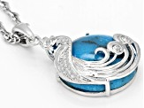 Blue turquoise rhodium over silver peacock pendant with chain .02ctw